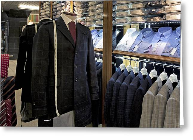 Menswear On Display At A Clothes Shop Greeting Card by Jaak Nilson