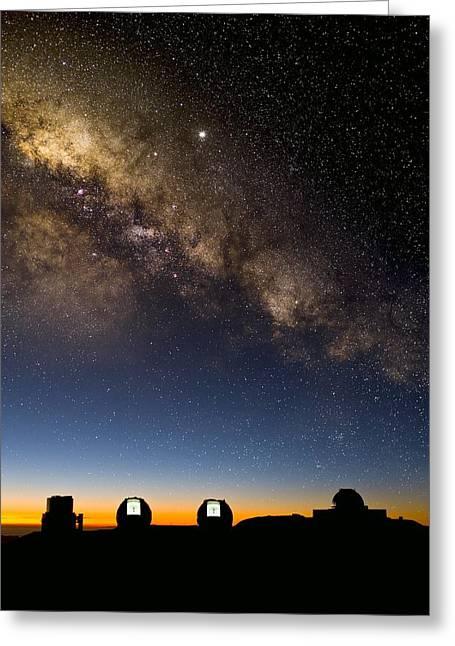 Milky Way And Observatories, Hawaii Greeting Card by David Nunuk