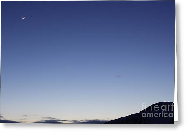 Moon And Venus Conjunction Greeting Card by Yuichi Takasaka