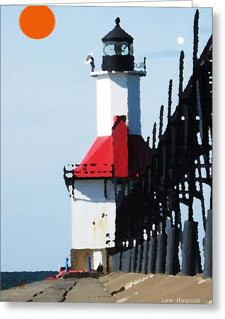 North Pier St Joseph Michigan Greeting Card