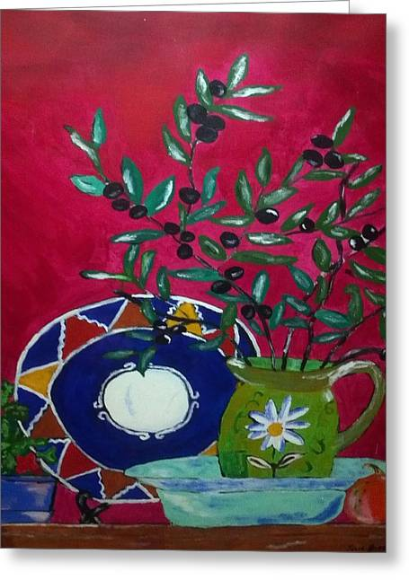 Olives Greeting Card by Julie Butterworth