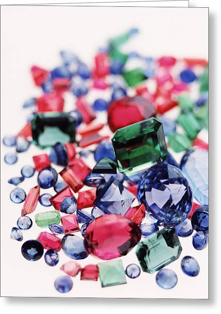 Precious Gemstones Greeting Card by Lawrence Lawry