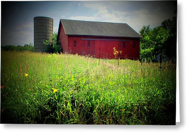 Red Barn Greeting Card by Michael L Kimble
