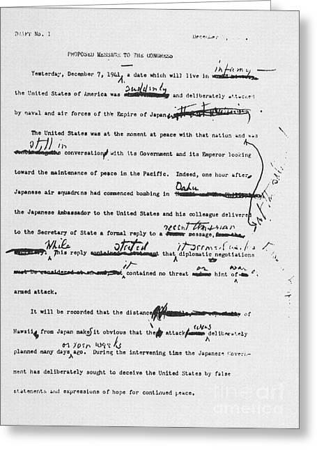 Roosevelt Speech, 1941 Greeting Card by Granger