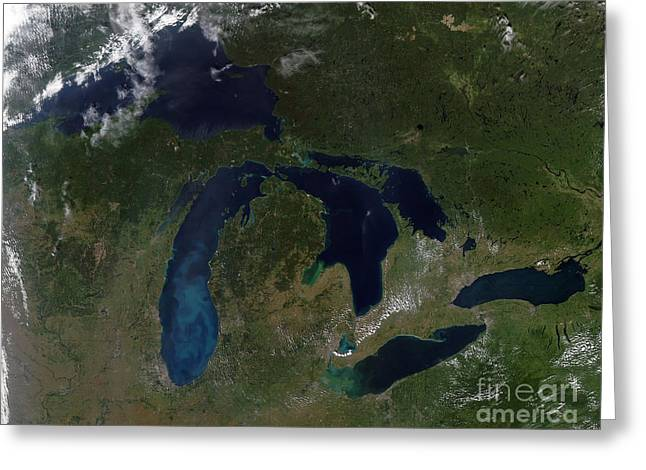 Satellite View Of The Great Lakes Greeting Card by Stocktrek Images