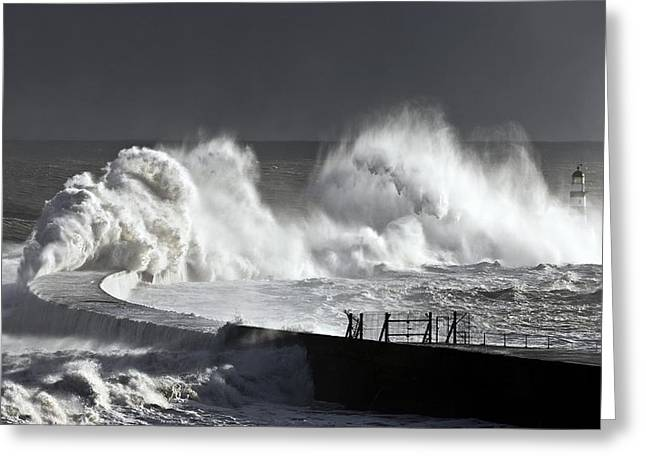 Seaham, England Stormy Waves Pounding Greeting Card by John Short