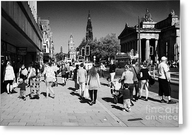 Shoppers And Tourists On Princes Street Edinburgh Scotland Uk United Kingdom Greeting Card by Joe Fox