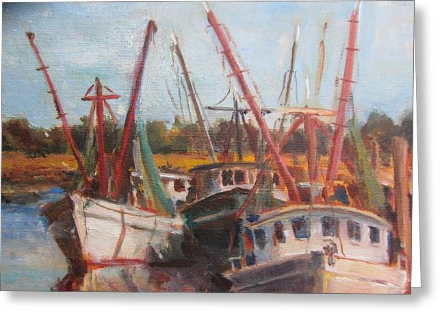 3 Shrimpers At Dock Greeting Card by Albert Fendig