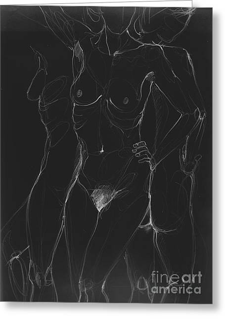 3 Sides Of A Woman In Night Greeting Card by Roswitha Schmuecker