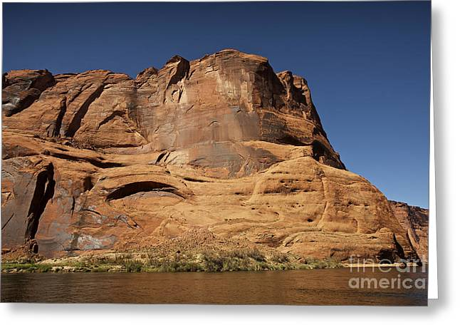 Steep Cliffs Guard The Colorado River Greeting Card by Terry Moore