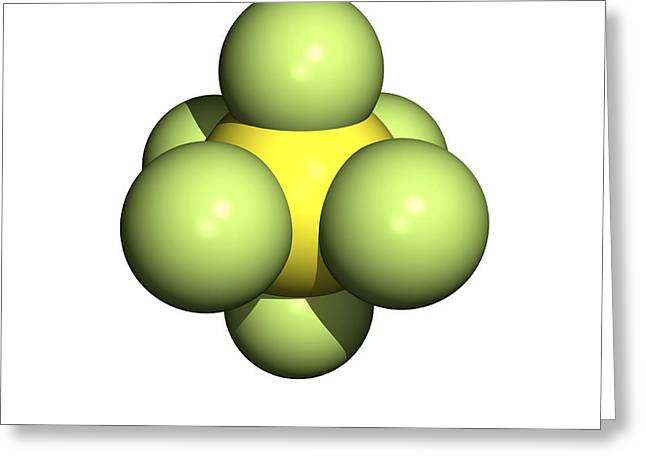 Sulphur Hexafluoride Molecule Greeting Card by Friedrich Saurer