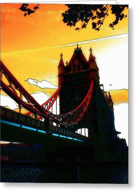 Sunset At Tower Brigde Greeting Card by Steve K