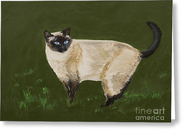 Sweetest Siamese Greeting Card by Leslie Allen