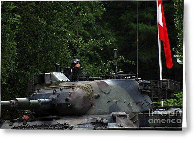 Tank Commander Of A Leopard 1a5 Mbt Greeting Card by Luc De Jaeger