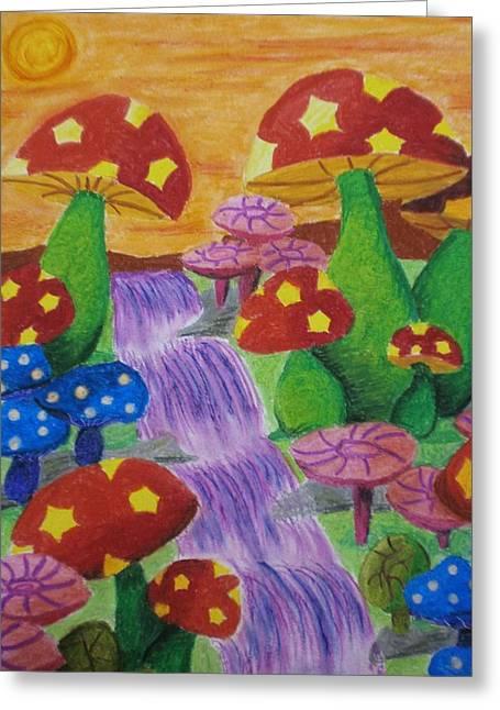 The Enchanted Mushroom Forest Greeting Card by Adam Wai Hou