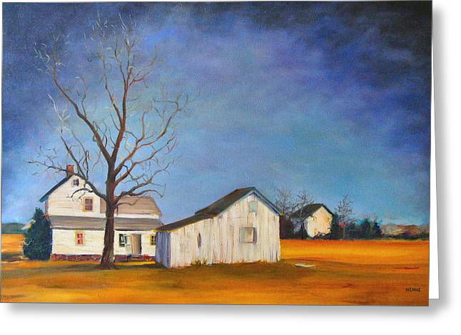 Greeting Card featuring the painting The Last Farm by Robert Henne
