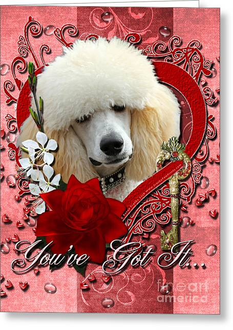 Valentines - Key To My Heart Poodle Greeting Card
