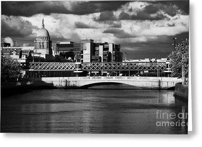 View Of The River Liffey In Dublin City Centre Republic Of Ireland Greeting Card by Joe Fox