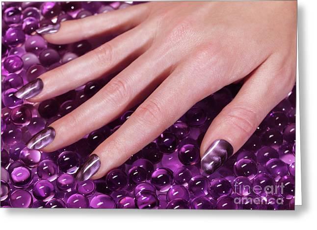 Woman Hand With Purple Nail Polish Greeting Card