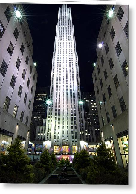 Greeting Card featuring the photograph 30 Rock by Michael Dorn