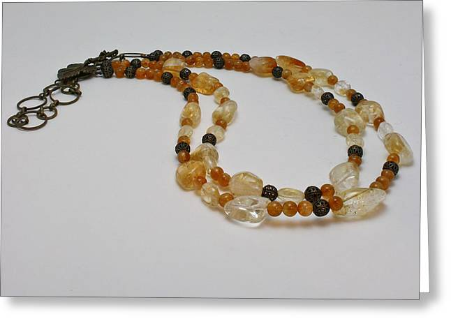 3514 Citrine Double Strand Necklace Greeting Card by Teresa Mucha
