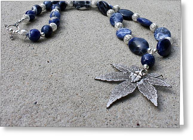 3593 Sodalite And Silver Necklace With Japanese Maple Leaf Pendant  Greeting Card by Teresa Mucha