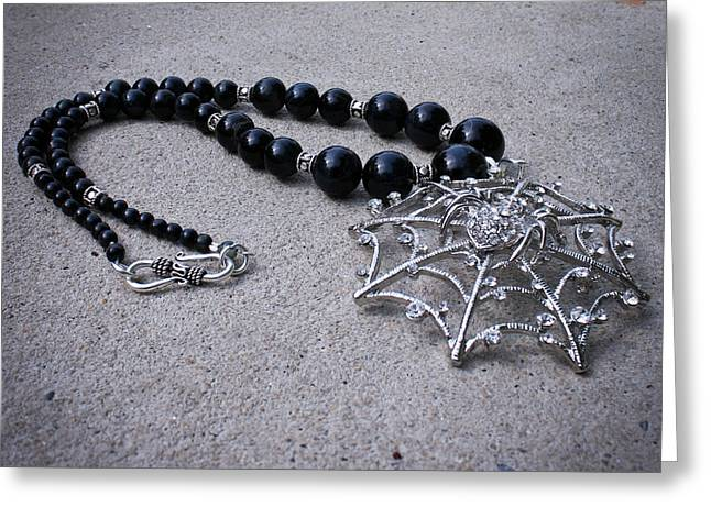3596 Spiderweb Rhinestone Pendant Necklace Greeting Card by Teresa Mucha