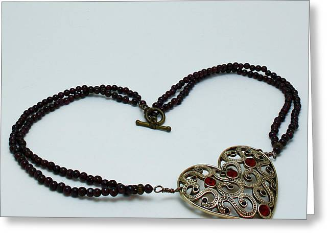 3597 Vintage Heart Brooch Pendant Necklace Greeting Card