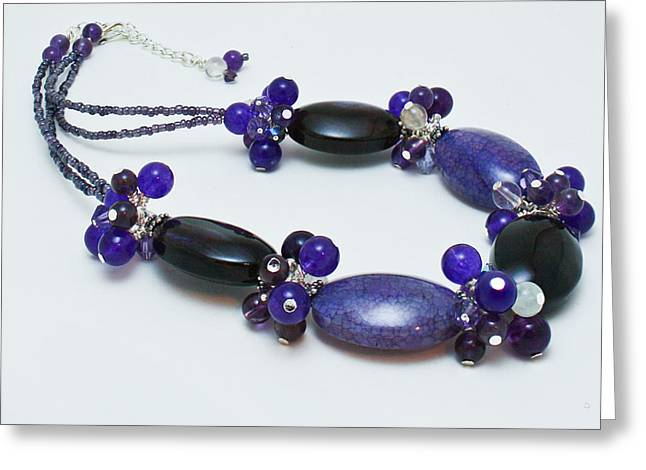 3598 Purple Cracked Agate Necklace Greeting Card