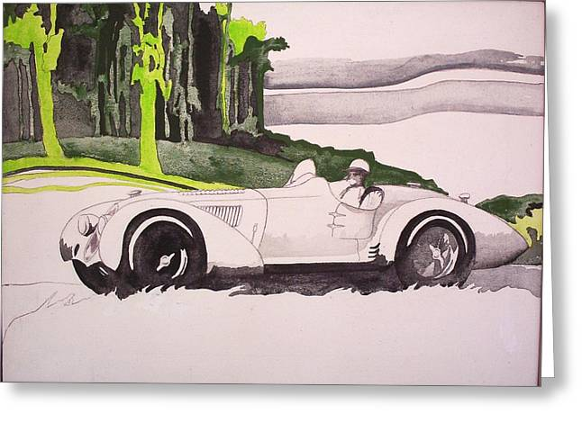 Greeting Card featuring the painting 36 Alfa  by Richard Willows