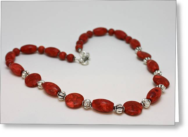 3612 Red Coral Necklace Greeting Card by Teresa Mucha