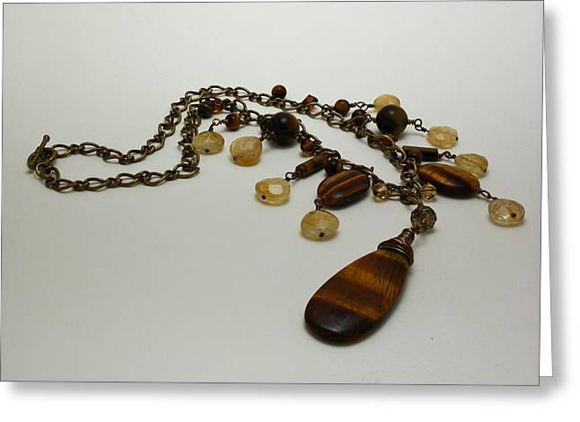 3618 Tigereye And Citrine Necklace Greeting Card by Teresa Mucha
