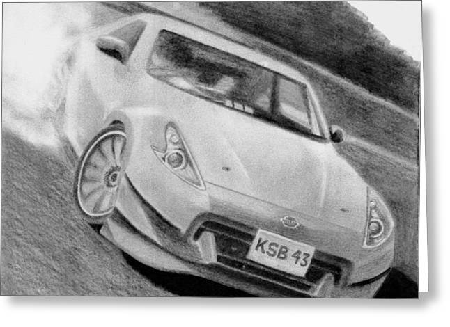 370z Fairlady Drift Greeting Card