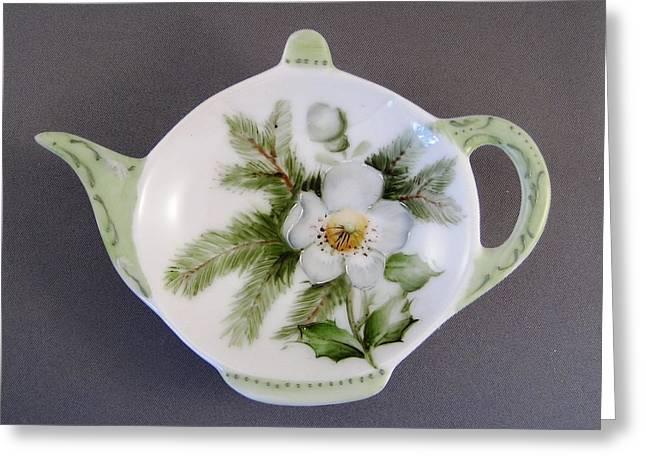 382 Teabag Holder Green Greeting Card by Wilma Manhardt