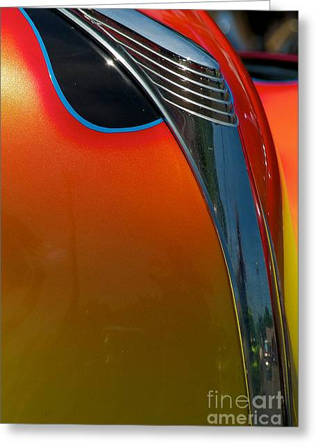 39 Ford Deluxe Hot Rod Hood Ornament  Greeting Card by Mark Dodd