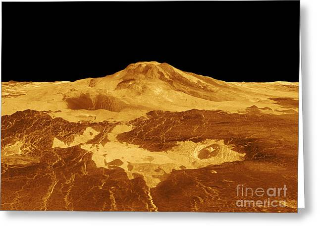 3d Perspective View Of Maat Mons Greeting Card by Stocktrek Images