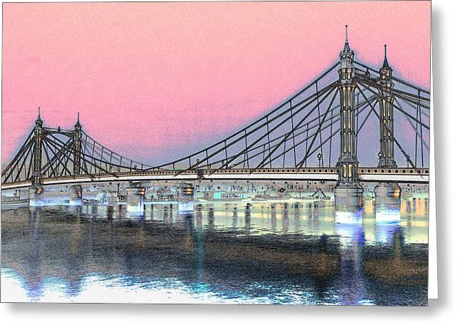 Albert Bridge London Greeting Card by David Pyatt