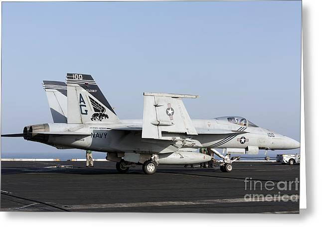 An Fa-18e Super Hornet During Flight Greeting Card by Gert Kromhout