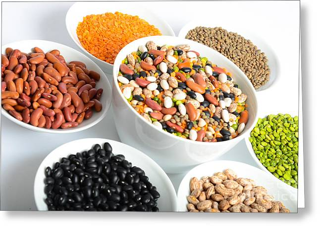 Assortment Of Beans And Lentils Greeting Card by Photo Researchers, Inc.