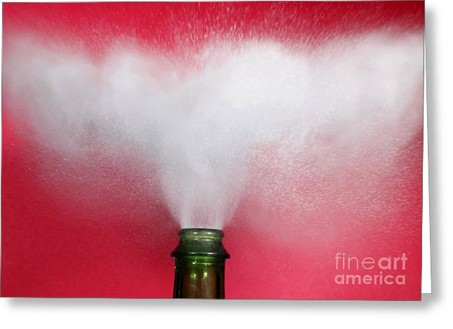 Champagne Cork Popping Greeting Card by Ted Kinsman