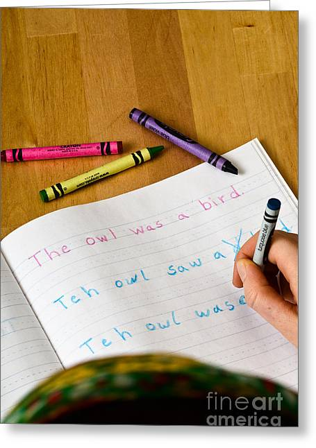 Dyslexia Testing Greeting Card by Photo Researchers, Inc.