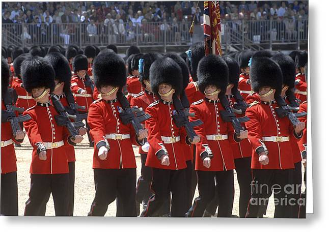 Irish Guards March Pass During The Last Greeting Card