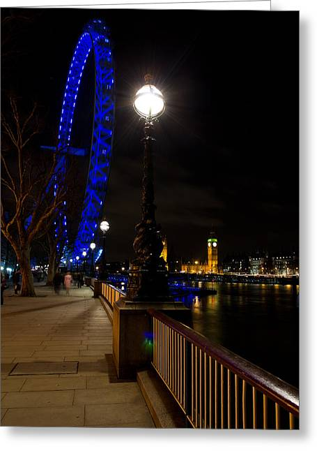 London Eye Night View Greeting Card by David Pyatt