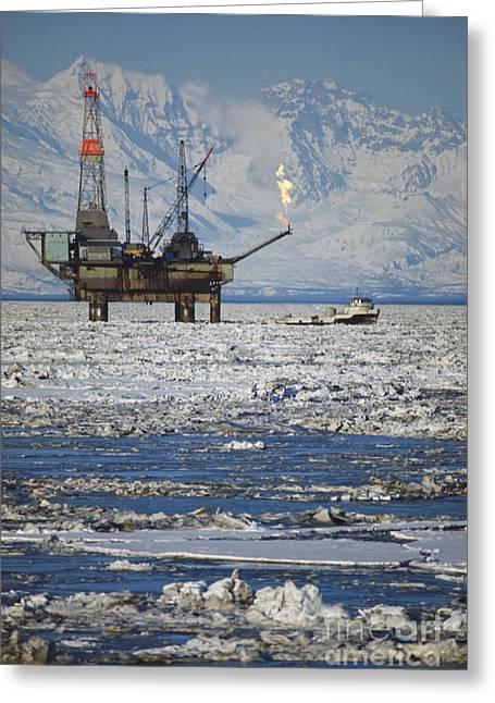 Offshore Oil Drilling Platform, Alaska Greeting Card by Joe Rychetnik