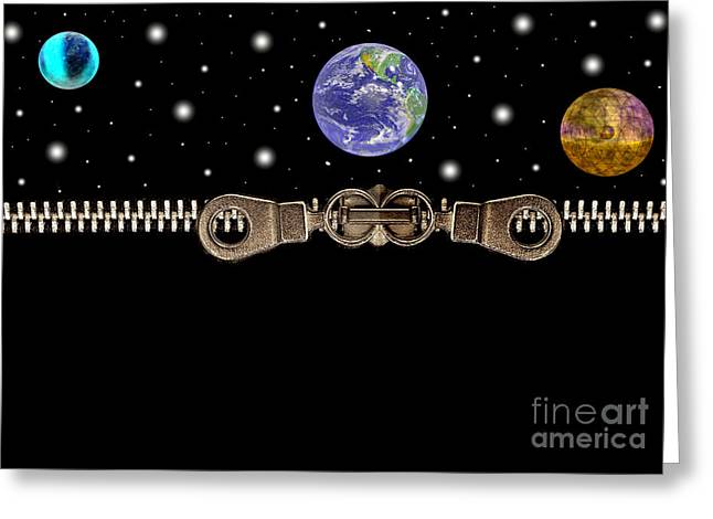 Planets And Zippers Greeting Card
