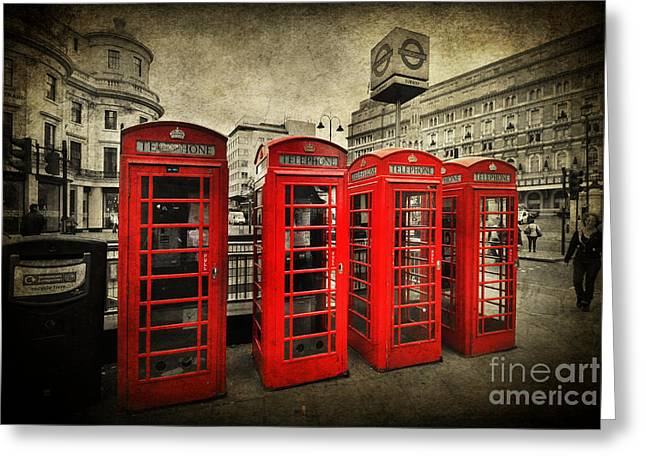 4 Red Phone Booths Greeting Card by Yhun Suarez