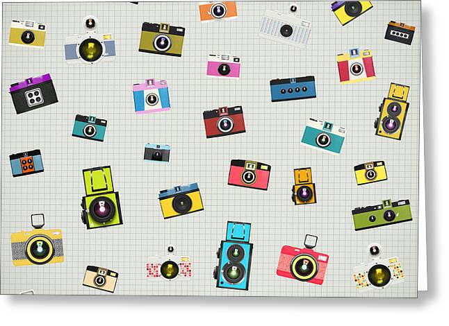 Retro Camera Pattern Greeting Card by Setsiri Silapasuwanchai