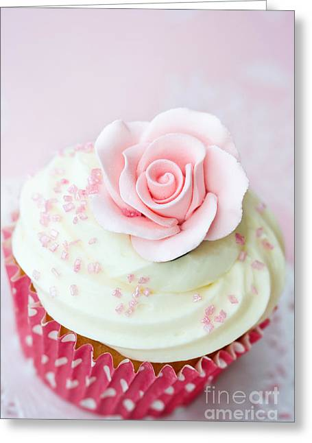 Rose Cupcake Greeting Card by Ruth Black