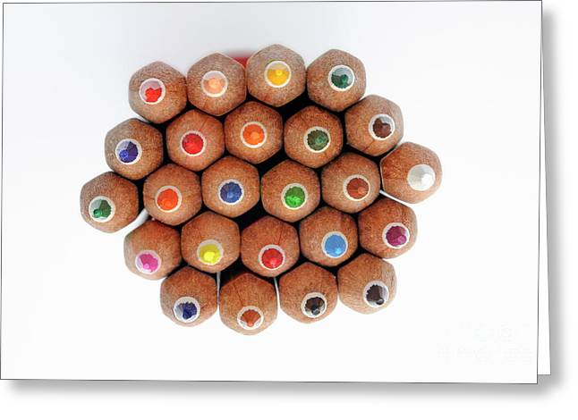 Row Of Colorful Crayons Greeting Card by Sami Sarkis
