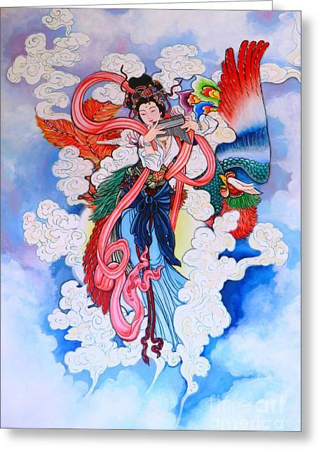 tradition Chinese painting on wall  Greeting Card by Phalakon Jaisangat
